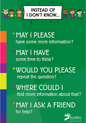 Poster: Instead of I Don't Know, Elementary/ENGLISH (pack of 20)