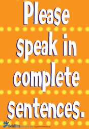 Poster: Complete Sentences/ENGLISH (pack of 20)